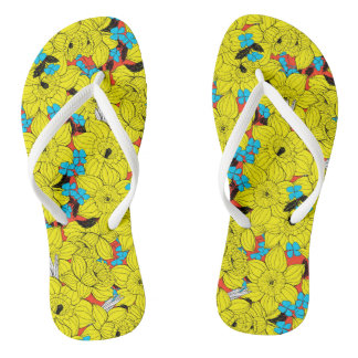 Daffodils spring floral pattern thongs