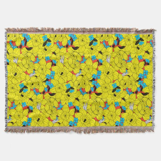 Daffodils spring floral pattern throw blanket