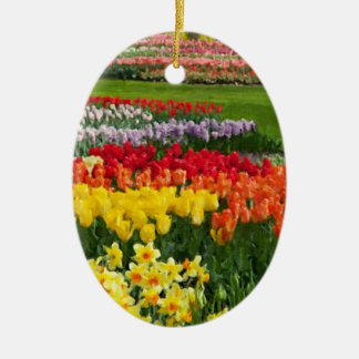Daffodils Tulips Hyacinths Painterly Ceramic Oval Decoration