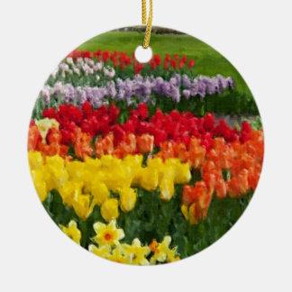 Daffodils Tulips Hyacinths Painterly Round Ceramic Decoration