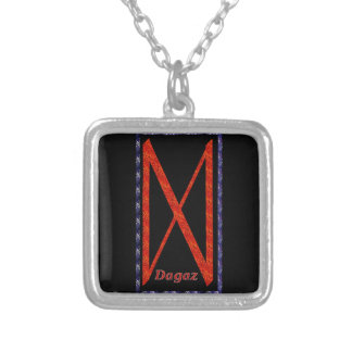 Dagaz Rune Silver Plated Necklace