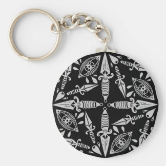 Daggers and eyes tattoo graphic pattern key ring