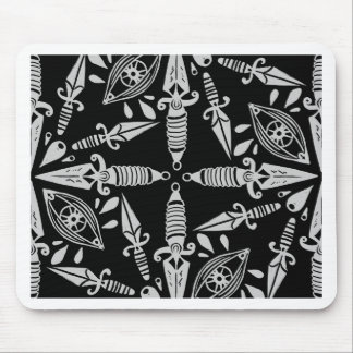 Daggers and eyes tattoo graphic pattern mouse pad
