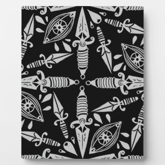 Daggers and eyes tattoo graphic pattern plaque