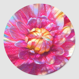 Dahlia Delight Round Sticker