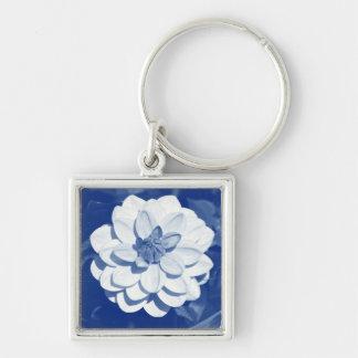 Dahlia - Digital Cyanotype Silver-Colored Square Key Ring