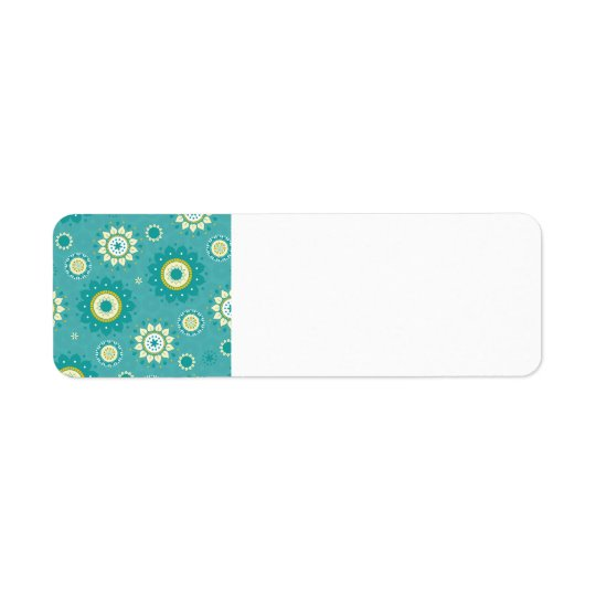 Dahlia Floral Patterned Blue and Cream Return Address Label