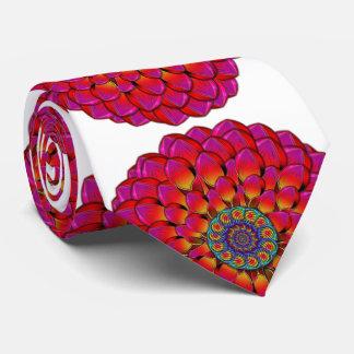 Dahlia Flower Endless Eye Abstract Tie