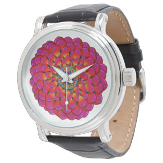 Dahlia Flower Endless Eye Abstract Watch