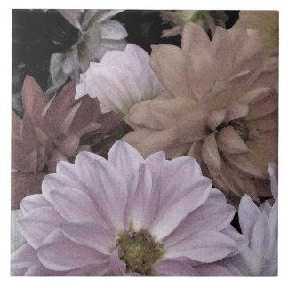 Dahlia Flower Garden Abstract Floral Ceramic Tile