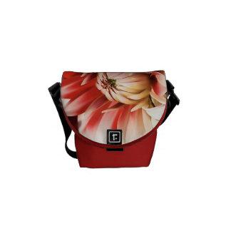 Dahlia Flower Red and White Mini Messenger Bag
