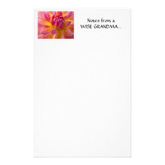 DAHLIA FLOWER Stationery Note Pad WISE GRANDMA