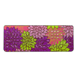 Dahlia Flowers, Blossoms - Pink Purple Green Wireless Keyboard