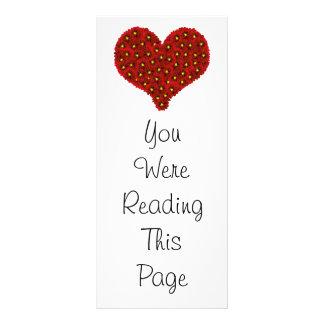 Dahlia Flowers Heart Bookmark Template Full Colour Rack Card