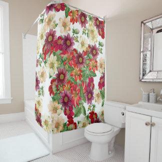 Dahlia Flowers Leaves Floral Shower Curtain