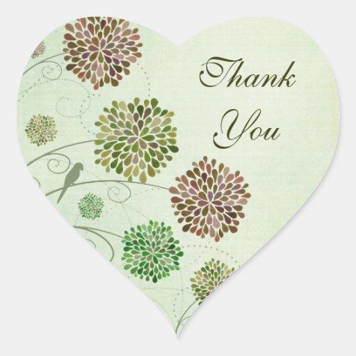Dahlia Garden Wedding Thank You Heart Sticker