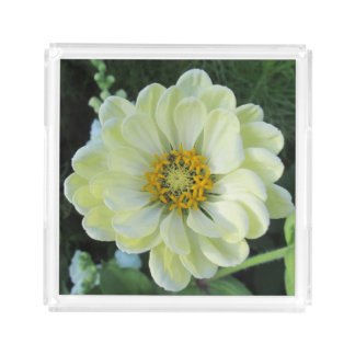 Dahlia Light Yellow Flower Acrylic Tray