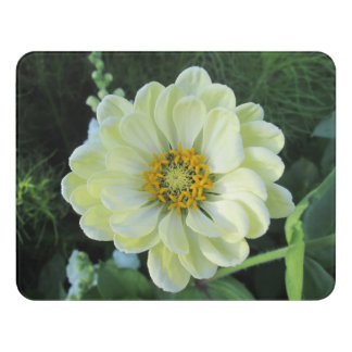 Dahlia Light Yellow Flower Door Sign