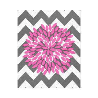 Dahlia on Chevrons in Pink and Gray Canvas Canvas Prints