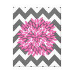 Dahlia on Chevrons in Pink and Grey Canvas Canvas Prints