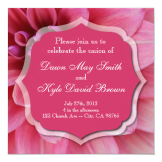 Dahlia pink flower wedding invitation