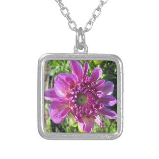 Dahlia Purple Flower Garden Plant Silver Plated Necklace