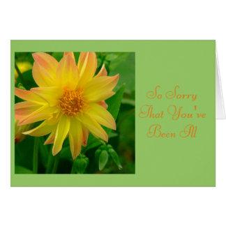 "DAHLIA/SORRY YOU'RE ILL/YELLOW AND ORANGE DAHLIA"" NOTE CARD"