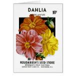 Dahlia Vintage Seed Packet Greeting Card