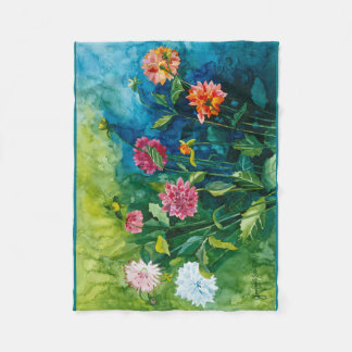 Dahlia watercolor fleece blanket