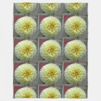 Dahlia Yellow Angle Flower Fleece Blanket