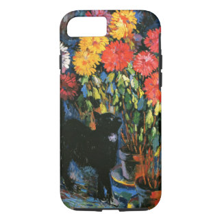 Dahlias and Black Cat, fine art painting iPhone 8/7 Case