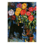 Dahlias and Black Cat, fine art painting Poster