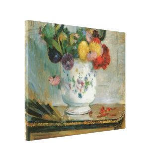 Dahlias by Berthe Morisot Wrapped Canvas Stretched Canvas Print
