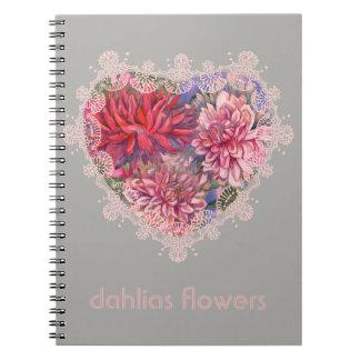 dahlias flowers notebooks