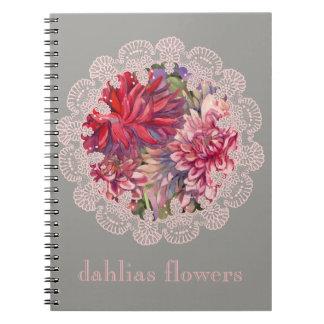 dahlias flowers spiral note books