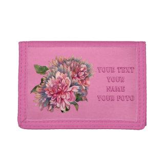 dahlias flowers tri-fold wallet