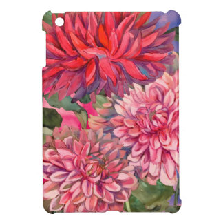 dahlias flowers watercolor iPad mini cover
