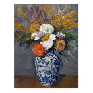 Dahlias in a Vase of Delft by Paul Cezanne Postcard
