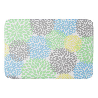 Dahlias Yellow Gray Blue Mint floral bath decor Bath Mat