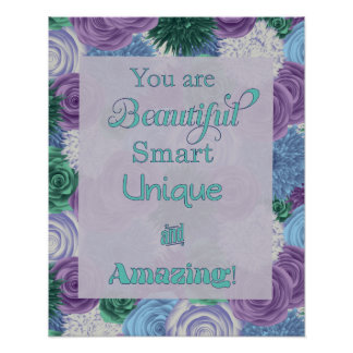 Daily Affirmation Poster - Beautiful Smart Unique
