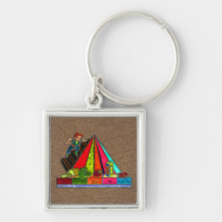 Daily Food Groups Pyramid Silver-Colored Square Key Ring
