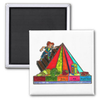 Daily Food Groups Pyramid Square Magnet