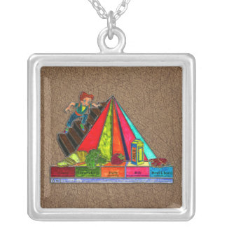 Daily Food Groups Pyramid Square Pendant Necklace