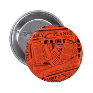 Daily Planet Pattern - Red 6 Cm Round Badge
