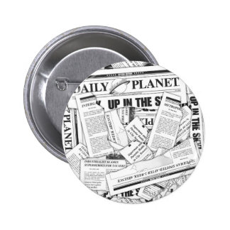 Daily Planet Pattern - White 6 Cm Round Badge
