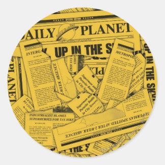 Daily Planet Pattern - Yellow Round Sticker