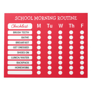 Daily Routine Checklist Notepad Custom Color