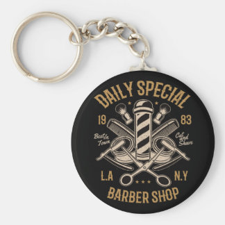 Daily Special Barber Shop LA NY Cut and Shave Key Ring