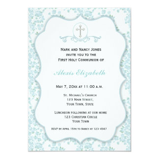 Dainty Blue Floral Religious Card