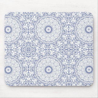Dainty Blue Ornate Pattern Mouse Pad